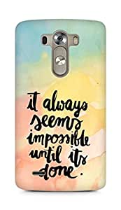 AMEZ it always seems impossible untill its done Back Cover For LG G3
