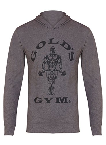 Goldsgym Hooded Long Sleeve T-Shirt, Grigio (Grey Marl), Small