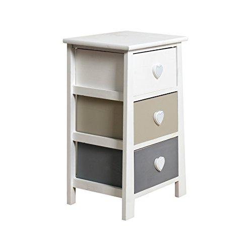 Best Price Rebecca Srl Bedside Table Cabinet 3 Drawers