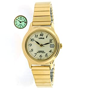 Lorus Ladies Stretch Band Gold Tone Watch Easy to Read Lumibrite Dial with Calendar