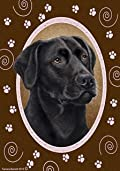Black Labrador Retriever Paw Prints Flag 12'' x 18