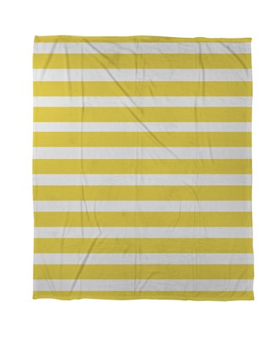 Thumbprintz Coral Fleece Throw, 50 By 60-Inch, Bright Stripes Yellow front-437826