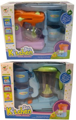 Toy Kitchen Appliances [4 Pieces] *** Product Description: Toy Kitchen Appliances Include Either A Blender Or A Mixer. Colors: Blue, Orange, Green. Not Recommended For Children Under 3 Years Of Age. *** front-524793