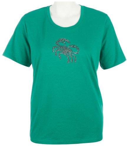 Coral Bay Plus Sequin Crab T-Shirt GREEN 3X