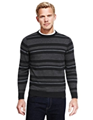 XXXL Blue Harbour Pure Cotton Striped Piqué Jumper