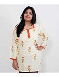 Viniyog Women Hand Woven Hand Block Printed Cotton Kurti