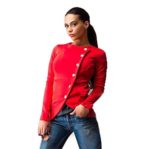 Xinantime Casuale Cappotto Sottile Giacca Pulsante Donna (M, rosso)