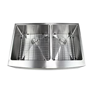 BOANN SKR3322D2 Hand Made Skirt Front R15 60/40 Double Bowl 33 x 22 1/4-Inch Undermount 304 Stainless Steel Kitchen Sink, 16-Gauge