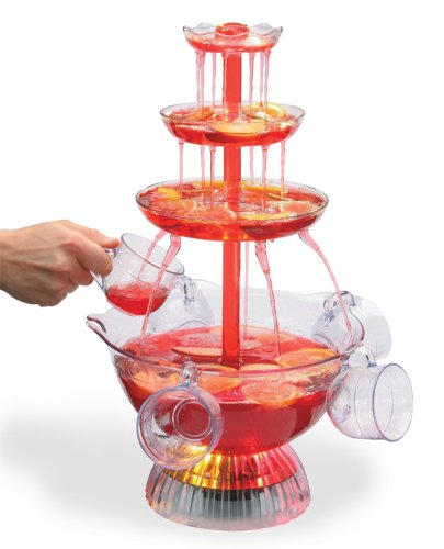 Clearmax Lighted 3-Tiered Party Fountain with 8 Cups, 1 1/2 Gallon Capacity, Operates with an AC Adapter