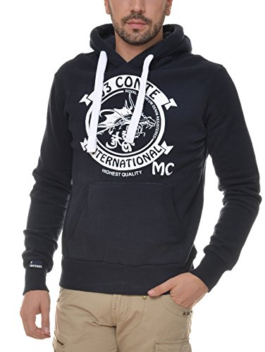 M.Conte Men Sweat-Shirt Zip Felpa da Uomo Giacca Jacket Romeo French Blue, Size XXL