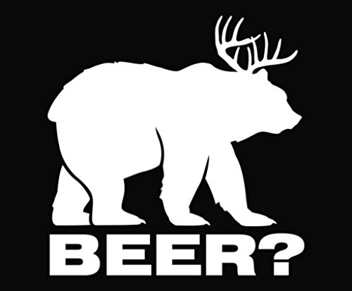 KCD264 Bear plus Deer equals BEER Vinyl Die Cut Decal Sticker|White|Cooler Fridge Cars Trucks Vans Walls Toolbox Laptop |5 In Decal | KCD264 (Beer Cooler Sticker compare prices)