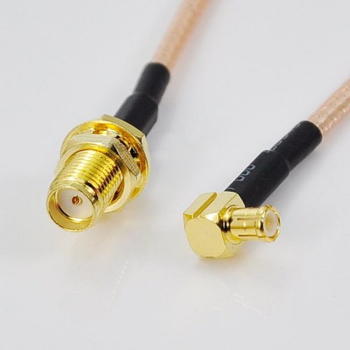 RF coaxial coax cable assembly SMA female to MCX male right angle 6''