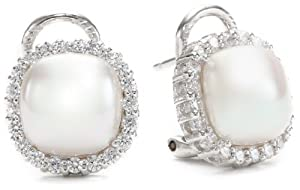 Majorica 9mm White Mabe Pearl with Cubic Zirconia Jacket Earrings
