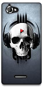 The Racoon Lean music skull hard plastic printed back case / cover for Sony Xperia L