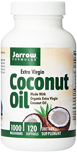 Jarrow Formulas Coconut Oil 100% Organic, Extra Virgin, 1000 mg, 120 Count