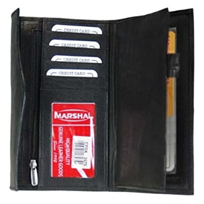 Leather Womens Wallet and Checkbook Holder BLACK
