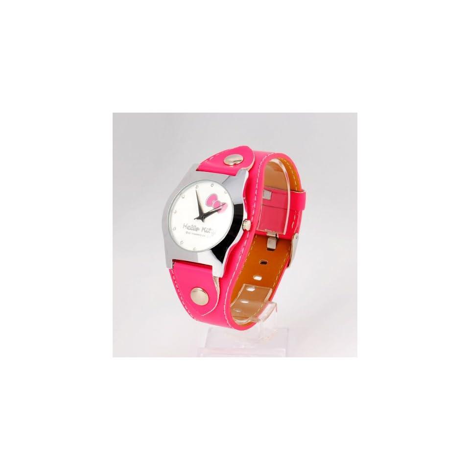 Hello Kitty Girl Round Wrist Watch Wristwatch Red