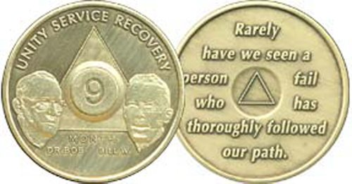 9 Month Bill & Bob Founders Edition Bronze AA (Alcoholics Anonymous) - Sober / Sobriety / Birthday - Anniversary Recovery Medallion / Coin / Chip - 1