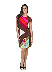CJ15 Multicolor Half Sleeve Satin Dress For Women