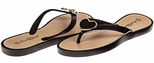 Chatties Girls Flip Flops With Heart Ornament - Black / Heart, Size 11 / 12 (More Colors and Sizes (Toddler Mossy Oak Flower Girl Dress)