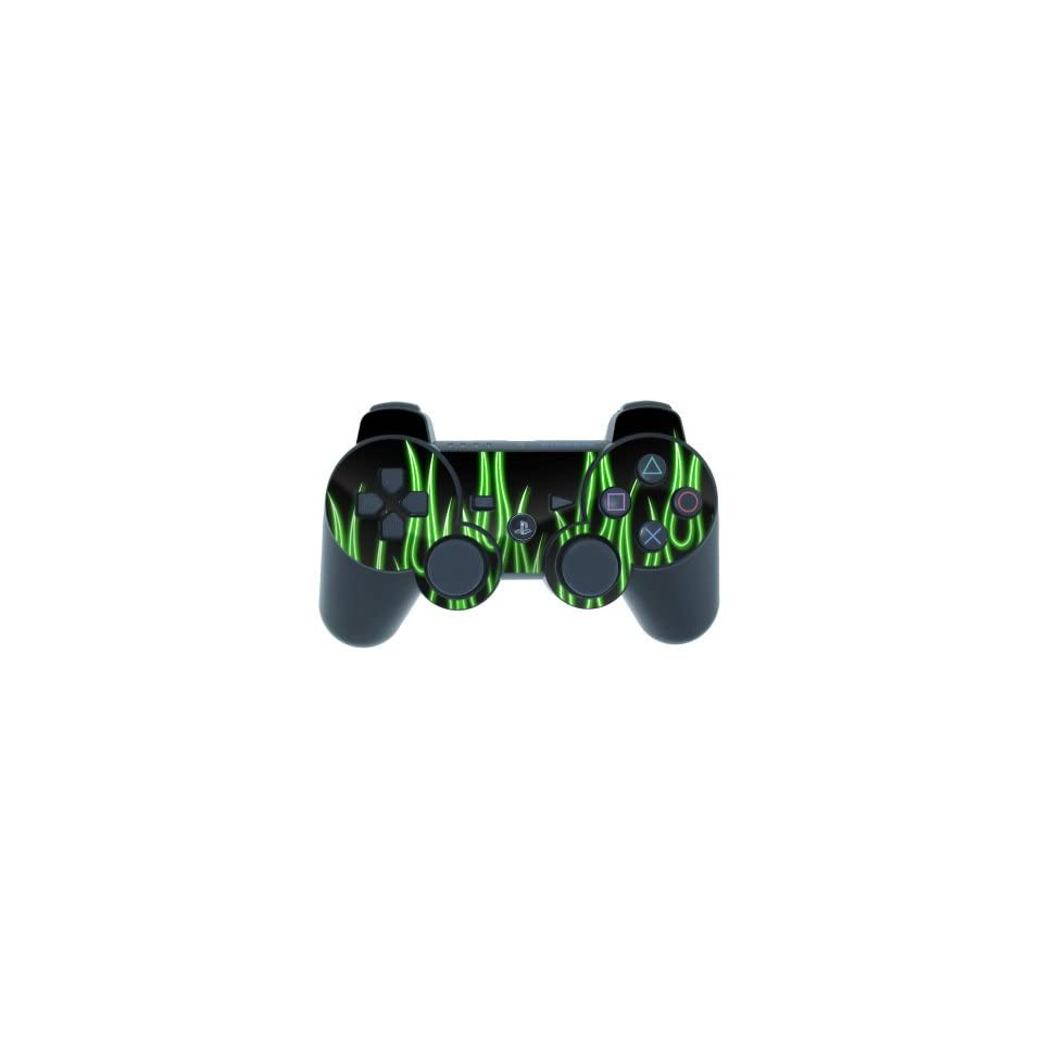 Green Neon Flames Design PS3 Playstation 3 Controller Protector SkinPlaystation 3 Controller Green