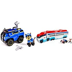 Paw Patrol Chase's Spy Cruiser with Figure and Paw Patroller Frustration-Free Packaging Bundle