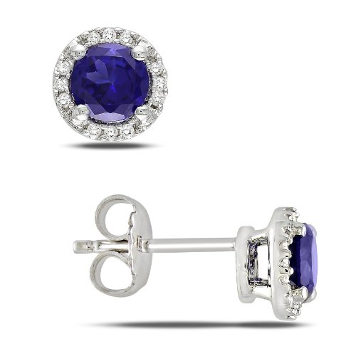 Sterling Silver 1 1/6 CT TGW Created Sapphire 0.07 CT TDW Diamond Stud Earrings (G-H, I3)