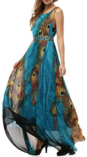 Wantdo Women's Printed Bohemian Summer Maxi Dress Plus size,US 14/Tag 2XL,Peacork (Colorful Maxi Dress compare prices)