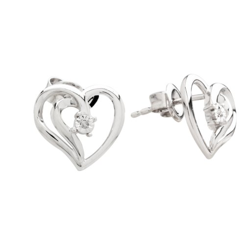 DiAura Sterling Silver Diamond-Accent Heart Earrings