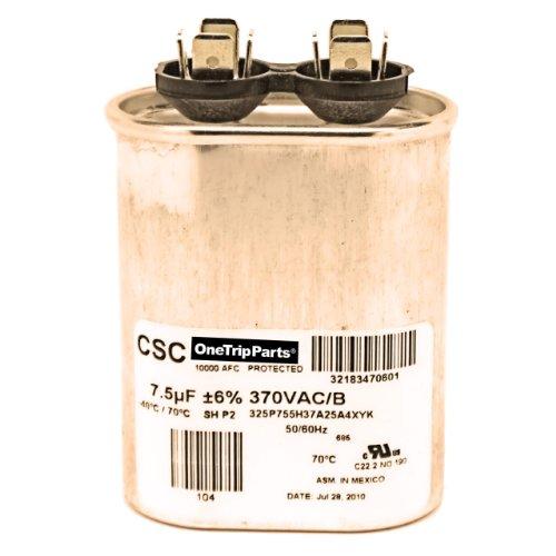 CAPACITOR 7.5 MFD 370 VAC OVAL DIRECT REPLACEMENT FOR AMANA GOODMAN JANITROL OEM PART CAP075000370VA
