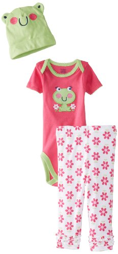 Gerber Baby-Girls Newborn 3 Piece Girls Bodysuit Cap Pants, Frog, New Born front-250585