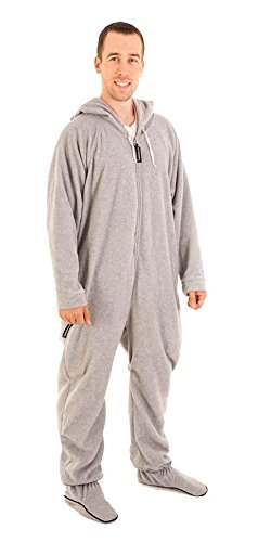 Forever Lazy Men'S Footed Adult Onesie - Asleep On The Job Gray - Xxl front-880531
