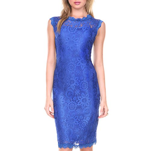 Stanzino Cocktail Dress / Women's Sleeveless Lace Dresses for Special Occasions,Blue,X-Large