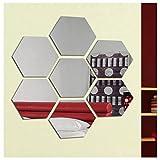 Hioffer(ハイオフア)壁貼りシール 幾何 アクリル 割れない鏡 インテリ DIY アート 現代芸術 おしゃれ 六角形 シルバー ミラー ウォールステッカー インテリア 鏡効果 ホームデコレーション 8*7*4cm 14枚入