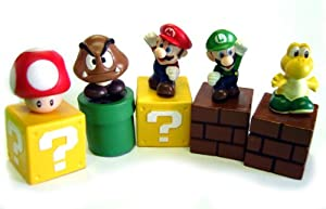 "New Super Mario Bros mini figures bundle (a set of Five ~1"" figures: Mario, Goomba, Luigi, Koopa Troopa, and Mushroom; Each comes with a ~1"" mounting block) (Japanese Imported)"