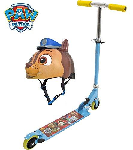 2-Piece-Paw-Patrol-Folding-Kick-Scooter-w-Matching-Multi-Sport-3D-Helmet