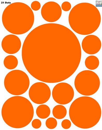 Dot Wall Stickers-(21) Orange Polka Dot Wall Decals Appliques - 1