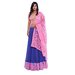 Blue net lehenga and pink mirror work blouse with lace duppatta