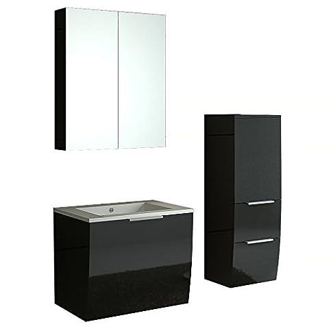 Set da bagno Rorschach NERO LUCIDO Set di mobili da bagno bagni e Bad ausstattung Badm oebel di jet di linea