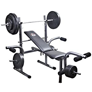 Fg weight lifting bench with 50kg weights barbell set adjustable height with leg unit and fly Weight set and bench
