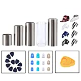 Guitar Slides Stainless Steel Slide Glass Slide 8 Pcs Thumb Finger Picks 10 Pcs Guitar Picks 12 Pcs Finger Protectors with Box Gift for Guitar Bass Ukulele Banjo Player (Model: A)