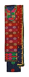 Odhani Women's Brocade Unstitched Dress Material (Red)