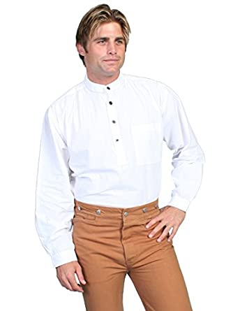 Victorian Men's Shirts- Wingtip, Gambler, Bib, Collarless Frontier Shirt  AT vintagedancer.com
