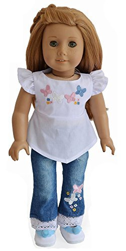 Ebuddy @ 2pcs Embroidery White Top+jeans Clothes Fits 18 Inch Doll - 1