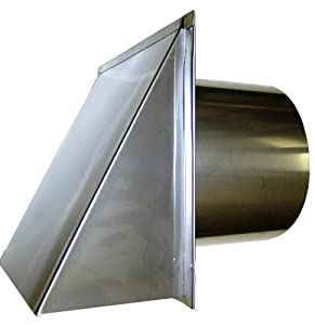 6 Inch Stainless Steel Exterior Side Wall Cap With Damper And Screen Ductin