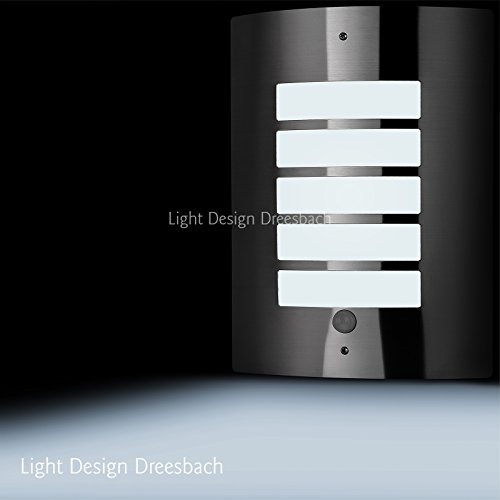 1er Set Edelstahl Wandleuchte Außenlampe Aussenleuchte mit Bewegungsmelder und LED COB 6Watt 580Lumen kaltweiß E27
