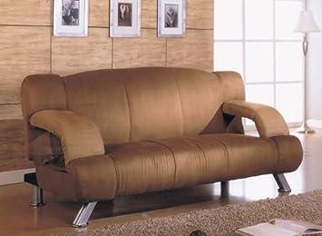 Futon Sofa with Adjustable Arms in Tan Microfiber