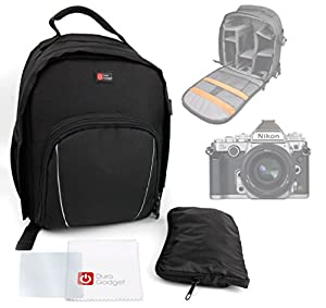 DURAGADGET Portable Water Resistant Nylon Rucksack For Nikon D4s, D7100, D5000, D3200, D3100, D90, FM10 & Nikon D610 Camera with 24-85mm Lens Kit (24.3MP) 3.2 inch LCD, With Shoulder Strap & Rain Cover + BONUS Cleaning Cloth Worth £4.49