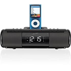 iLive ISP209B Portable Speaker System with Alarm Clock and Dock for iPod and iPhone (Black)