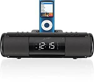 ilive isp209b portable speaker system with alarm clock and dock for ipod and iphone. Black Bedroom Furniture Sets. Home Design Ideas